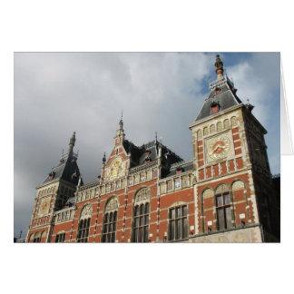 Cartão com fotos da estrada de ferro do estação de