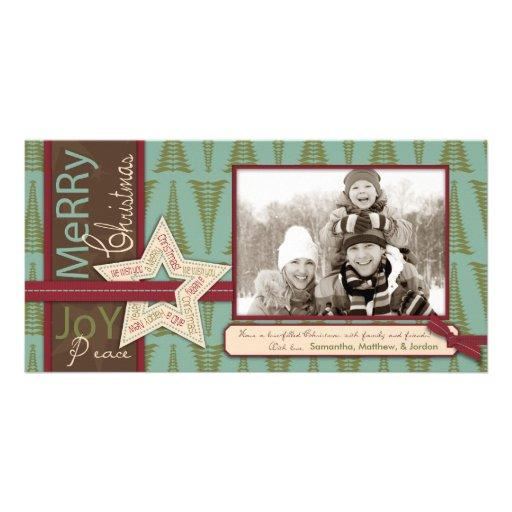 Cartão com fotos da estrela do Natal