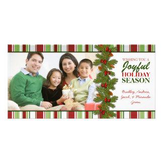 Cartão com fotos da família do Natal das listras Cartão Com Foto