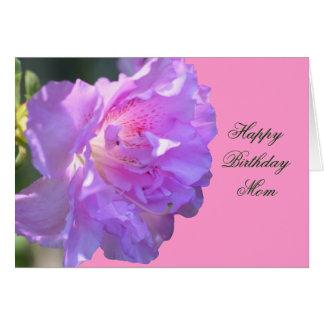 Cartão com fotos da flor da azálea do rosa da mamã