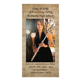 Cartão com fotos da graduação das notas musicais cartão com foto
