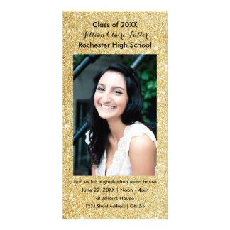 Cartão com fotos da graduação do brilho do falso cartão com foto