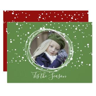 Cartão com fotos da grinalda do Natal das bolhas