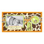 Cartão com fotos da laranja do menino do safari