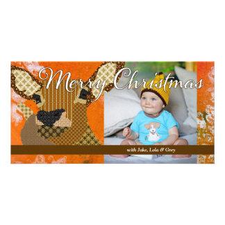 Cartão com fotos da laranja do Natal da rena