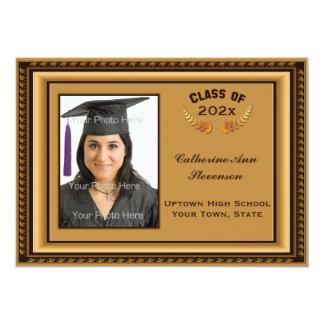 Cartão com fotos da moldura para retrato do ouro convite 12.7 x 17.78cm