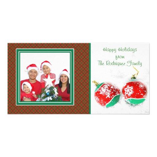 Cartão com fotos da neve dos enfeites de natal