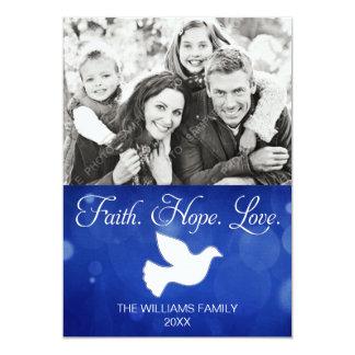 Cartão com fotos da pomba do Natal do amor da Convite 12.7 X 17.78cm