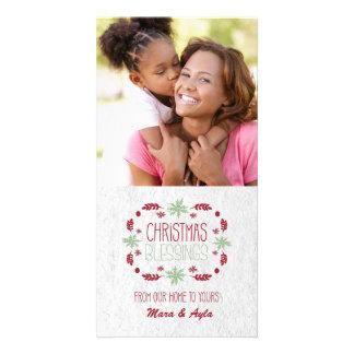 Cartão com fotos das bênçãos do Natal