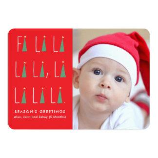 Cartão com fotos das canções de natal do feriado