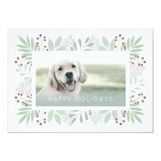 Cartão com fotos das folhas do verde do cartão |