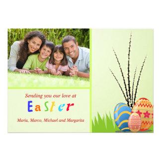 Cartão com fotos das imagens da páscoa convite personalizados