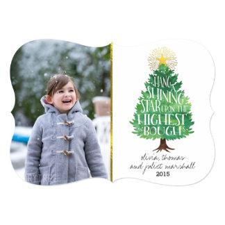 Cartão com fotos de brilho do feriado da estrela convite 12.7 x 17.78cm