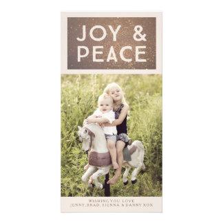 Cartão com fotos de bronze do Xmas da alegria & da