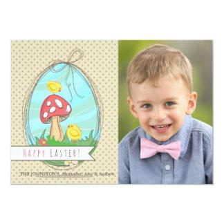 Cartão com fotos de dois pintinhos da páscoa convite 12.7 x 17.78cm