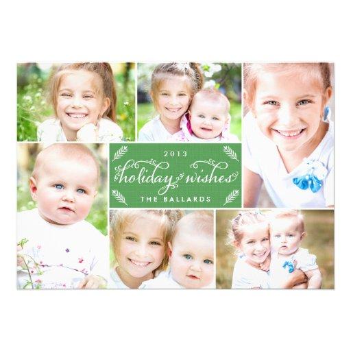 Cartão com fotos de linho do feriado do montagem - convite personalizados