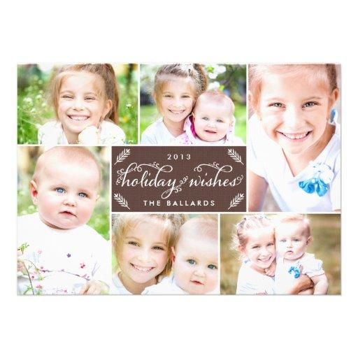 Cartão com fotos de linho do feriado do montagem - convites