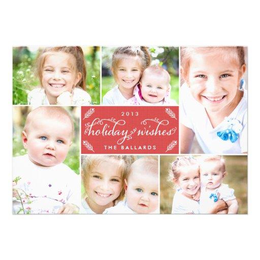 Cartão com fotos de linho do feriado do montagem - convite personalizado