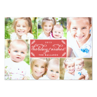 Cartão com fotos de linho do feriado do montagem - convite 12.7 x 17.78cm