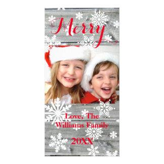 Cartão com fotos de madeira velho alegre dos cartão com foto