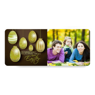 Cartão com fotos de suspensão dos ovos da páscoa convite 10.16 x 23.49cm
