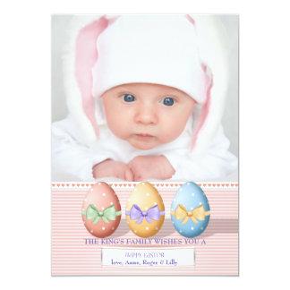Cartão com fotos de três ovos da páscoa convite 12.7 x 17.78cm