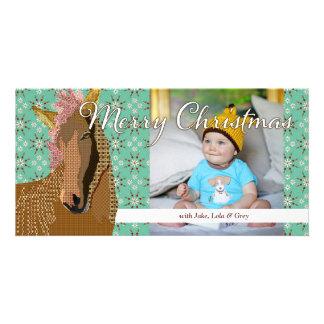 Cartão com fotos de turquesa do Natal de Zorse
