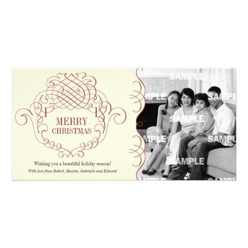 Cartão com fotos decorativo filigrana do feriado