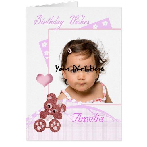 cartão com fotos do aniversário customizável com p