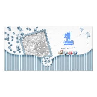 Cartão com fotos do aniversário do azul primeiro