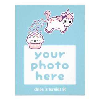 Cartão com fotos do aniversário do unicórnio de convite 10.79 x 13.97cm