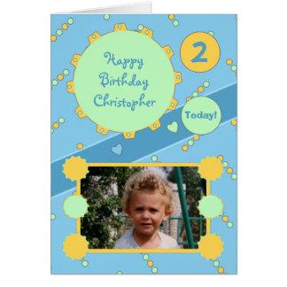 Cartão com fotos do aniversário para Little Boy