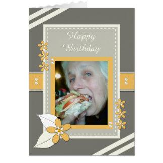 Cartão com fotos do aniversário para o dia das