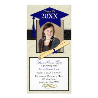 Cartão com fotos do anúncio da graduação - azul &  cartão com foto