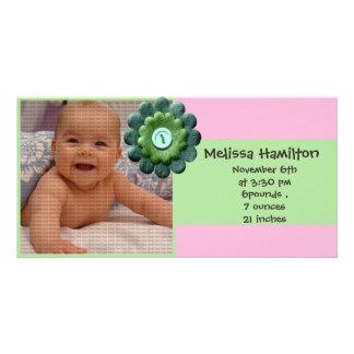 cartão com fotos do anúncio do bebé cartão com foto