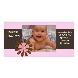 cartão com fotos do anúncio do bebé
