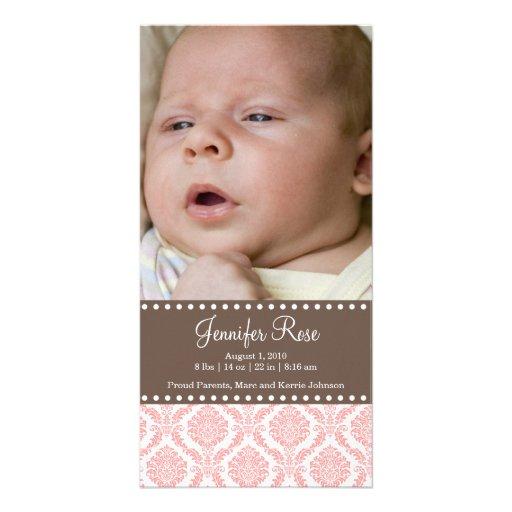 Cartão com fotos do anúncio do bebê do damasco