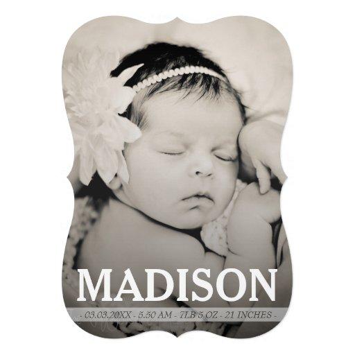 Cartão com fotos do anúncio do nascimento do bebé convites personalizado