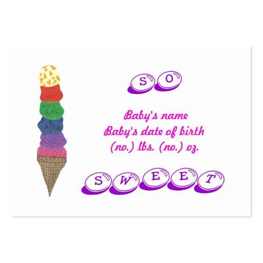 Cartão com fotos do anúncio do nascimento do sorve modelo cartões de visita