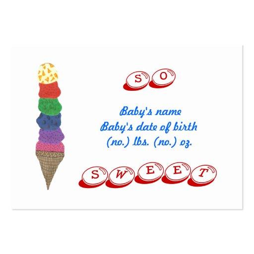 Cartão com fotos do anúncio do nascimento do sorve cartões de visita