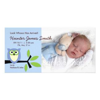 Cartão com fotos do anúncio do nascimento do tema