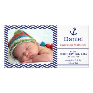 Cartão com fotos do anúncio do nascimento dos meni