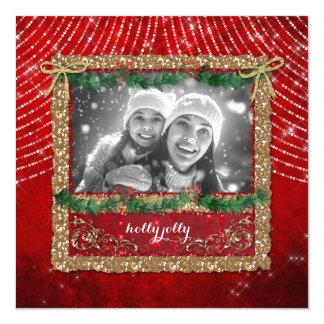 Cartão com fotos do brilho do ouro das luzes