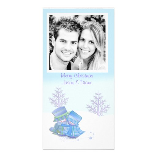 Cartão com fotos do casal da neve