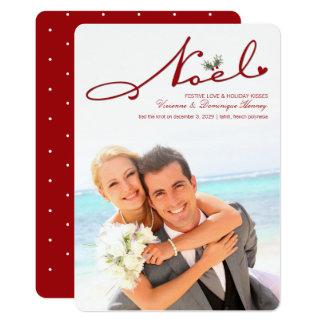 Cartão com fotos do casamento do Natal do visco de