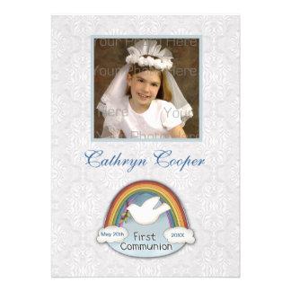 Cartão com fotos do comunhão do laço da pomba do a convites