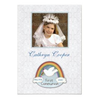 Cartão com fotos do comunhão do laço da pomba do convite 12.7 x 17.78cm