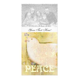 Cartão com fotos do costume da pomba da paz cartão com foto