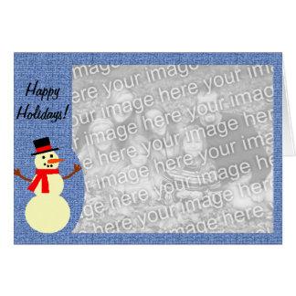 Cartão com fotos do costume do boneco de neve