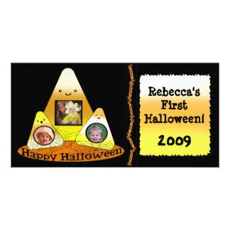 Cartão com fotos do costume do Dia das Bruxas do e
